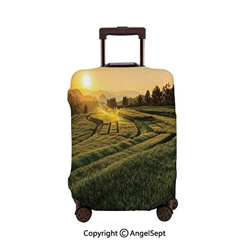 Travel Luggage Cover Dustproof Suitcase,Barley Field Sunset at Samoeng Chiang Mai Thailand Asian Nature Countryside Green Yellow,23.6x31.9inches,Cover Suitcase Protector Carry-On