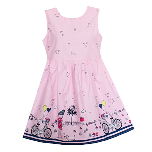 Shybobbi Summer Girls Dress Pink Bicycle Girl Print Cotton Dresses Party Pageant Princess Baby Kids Clothing (8, Pink)