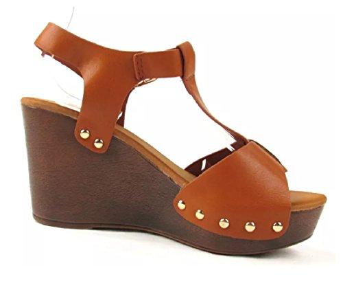 Strop 02 Tan T Top Sandal Premium Ember Wedge Moda Womens Leatherette aOXzZ