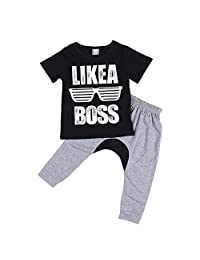 "Baby Boys Short Sleeve ""LIKE A BOSS"" Print T-shirt + Harem Pants 2Pcs Outfit Set"