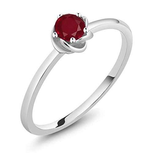 10K White Gold Red Ruby Solitaire Engagement Ring (0.22 Ct Round Available in size 5, 6, 7, 8, 9)