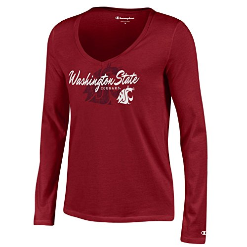 NCAA Washington State Cougars Women's University Long sleeve V-Neck Tee, Small, (Washington State University Clothing)