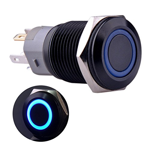 - Ulincos Momentary Push Button Switch U16F1 1NO1NC Black Metal Shell with Blue LED Ring Suitable for 16mm 5/8