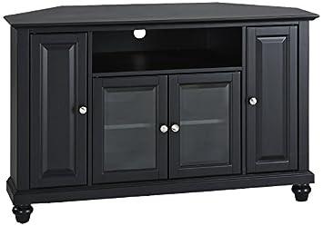 crosley furniture cambridge 48inch corner tv stand black