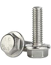 M6 x 30mm Flanged Hex Head Bolts Flange Hexagon Screws, Stainless Steel A2, DIN 6921, 15 PCS
