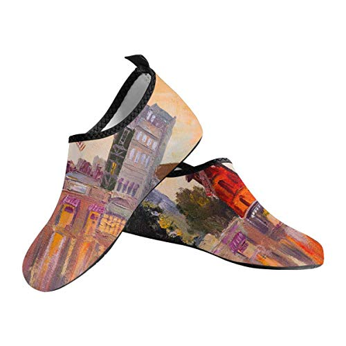 (INTERESTPRINT Oil Painting Cityscape Moulin Rouge Paris France Barefoot Shoes Quick-Dry Aqua Socks for Women US7.5~US8)