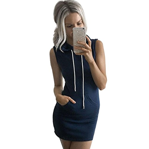 LONUPAZZ Robe  Capuche Sans Manches Femme Ete Casual Mini Robe Bleu