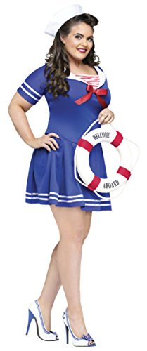 Funworld Womens Uniforms Anchors Away Nautical Sailor Theme Party Fancy Costume, Plus (16-24) (Plus Size Anchors Away Sailor Costume)
