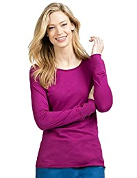 Peaches Women's Long Sleeve Great for Layering Under Scrubs Tee Sangria