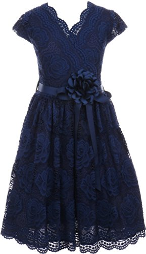 Flower Girl Dress Curly V-Neck Rose Embroidery AllOver for Little Girl Navy 8 JKS.2066