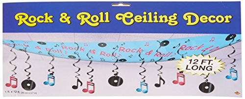 [Beistle 50263 1-Pack Rock and Roll Ceiling Decor, 12-Inch by 12-Feet] (Rock And Roll Costume For Kids)