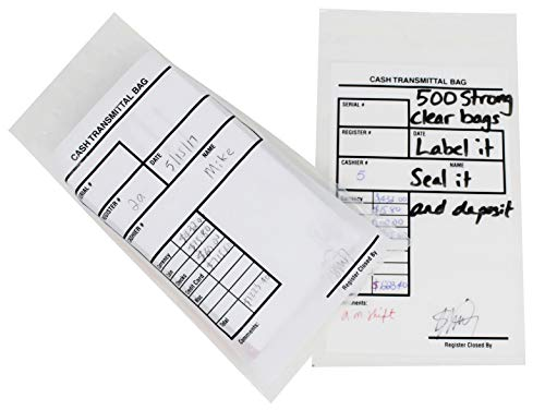 Transmittal Envelope - Bank Deposit Bags - Pack of 500 | Extra Strength Tamper-Evident, Tamper Proof - Self Adhesive Seal Clear Plastic Poly Transmittal Bags for Cash Checks Money or Currency Deposits