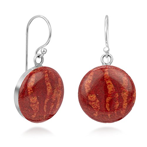 925 Sterling Silver Natural Red Sea Bamboo Coral Inlay Classic Round Dangle Hook Earrings 1