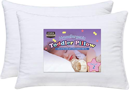 Utopia Bedding Dreamy Baby Pillow - Pack of 2 Toddler Pillows for Sleeping - 100% Cotton Cover - Washable Kids Pillow with Hypoallergenic Filling - For Toddlers and Kids (13 x 18 inches White) -