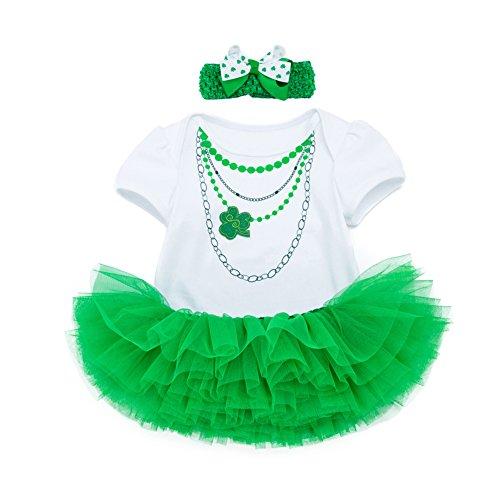 Baby Girls ST. Patricks Day Tutu Dress Shamrocks Green Party Costume Outfit (2, 3 M) -