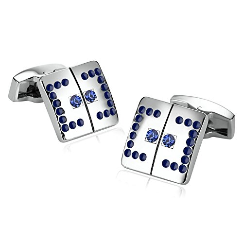 KnSam Stainless Steel Cufflinks for Mens Square Engraved Stripe Inlaid Zirconia - And Gabbana Dolce New York