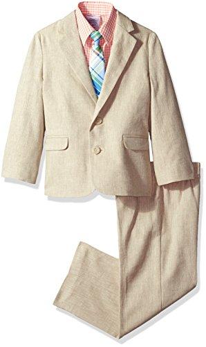 IZOD Kids Boys' Little 4-Piece Formal Dresswear Suit Set, Khaki Herringbone, 6