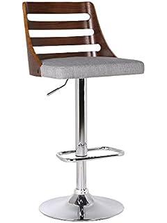 us pride furniture walnut wood and grey fabric adjustable swivel bar stool