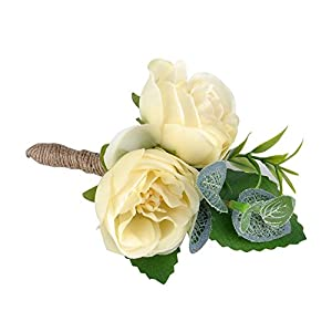 YSUCAU Handcrafted Boutonniere for Men Wedding, Brooch Bouquet Corsage Classic Artificial Groom Bride Flowers with Pin for Wedding Prom Party 6 Pcs 3