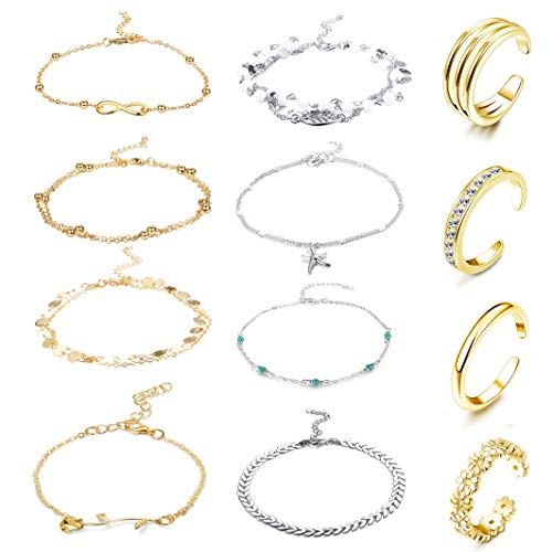 Ring Ankle Bracelet - FUNRUN JEWELRY 12PCS Anklet and Toe Ring Set for Women Girls Beach Ankle Bracelets Adjustable Open Toe Ring Foot Jewelry (Color B)
