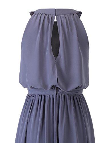 Alagirls Pour Femmes Robes De Bal En Mousseline De Soie Col Ras Du Cou Longue Robe De Soirée De Mariage Sans Manches Champagne
