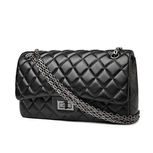 (Classics Women's Lambskin Flap Shoulder Bags Diamond Square Striped Bag Chain Leather Handbags)