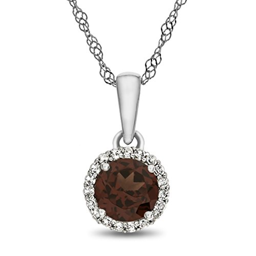 Finejewelers 10k White Gold 6mm Round Garnet with White Topaz accent stones Halo Pendant Necklace