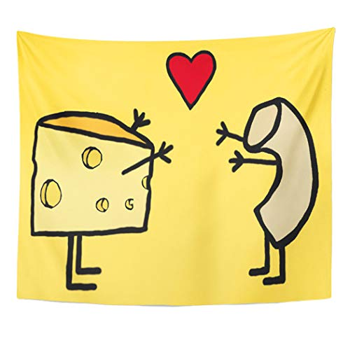Semtomn Tapestry Artwork Wall Hanging Funny Mac and Cheese Cute Macaroni Heart Love Lover 50x60 Inches Tapestries Mattress Tablecloth Curtain Home Decor Print]()