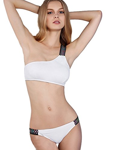 GRACES White Sexy One Shoulder Fashion Bikini Swimwear Swimsuit - Outlets Prime Orlando