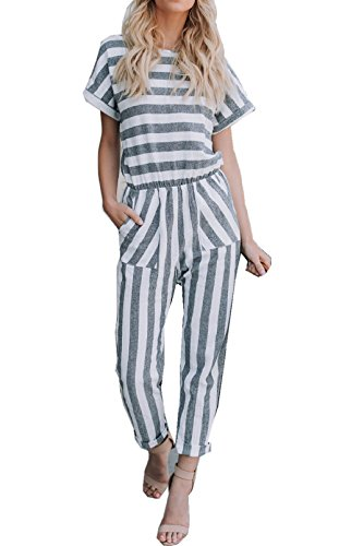 Asskdan Womens Elegant Rompers Jumpsuits Lang Striped Short Sleeve Playsuits