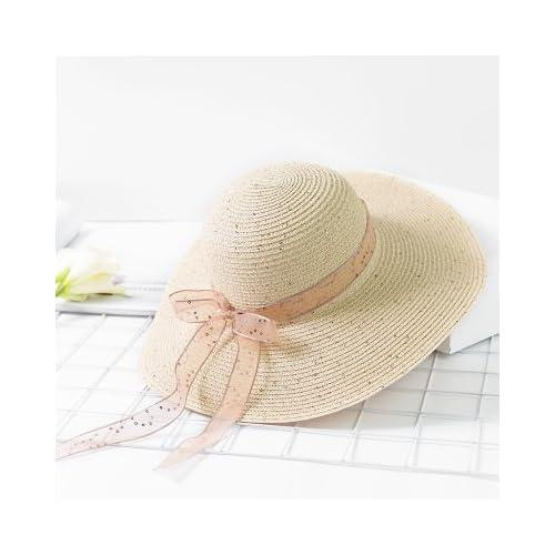 447ab0a9b77be Haihuayan Sombrero De Paja Sombreros De Ala Ancha De Lentejuelas  Serpentinas De Color Puro Floppy Paja Sombrero Para El Sol De Verano  Femenino Las Mujeres ...