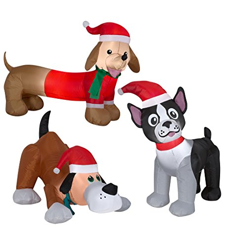 Weiner Dog, Boston Terrier & Puppy Dog Christmas Inflatable Dogs LED Light Up Inflatables with Santa Hats Perfect for Christmas Blow Up Yard Decoration, Indoor Outdoor Garden Christmas Decorations by Holiday Time