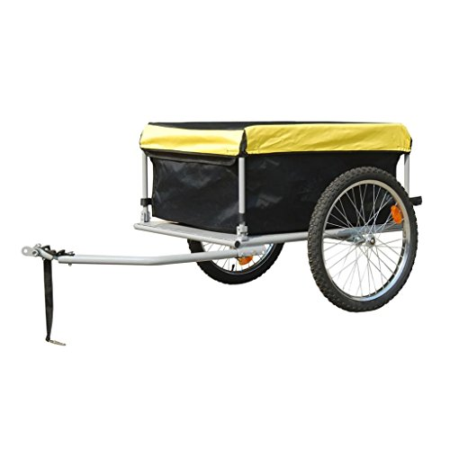 vidaXL Outdoor Bike Bicycle Trailer w/Cover Transport Cargo Luggage Cart Carrier