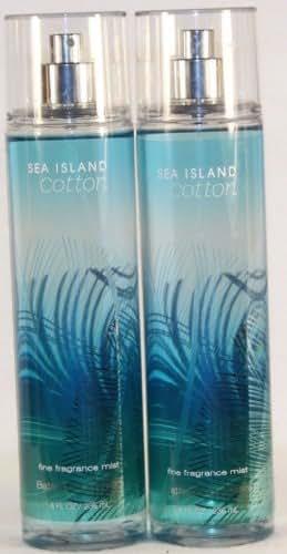 2 X Bath Body Works Sea Island Cotton 8.0 Oz Fine Fragrance Mist (Set of 2 - 8 Oz Each)