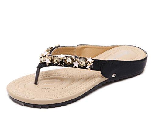 Mou l'été Les Fond de Noir Chaussures Couleur Plates des Pantoufles Unie LIANGXIE Femmes Nouveaux Sandales de ZHHZZ Perlée qHXBwBfc