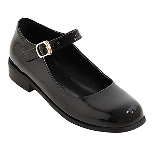 Charm Foot Women's Retro Ankle Strap Buckle Low Heel Mary Jane Shoes (7, Black)
