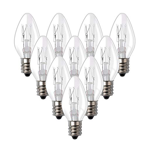 15WE12 15 Watt Bulbs for Scentsy - Plug in Night Wax Warmer Diffuser C7 Replacement Bulb 15W 120 Volt (10 Bulbs)