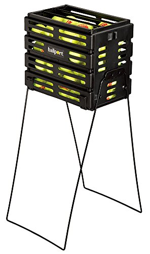 (Tourna Ballport Tennis Ball Hopper Holds 80 Balls Durable and Lightweight - Black)