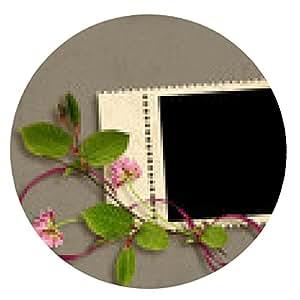 alfombrilla de ratón Tarjeta para las vacaciones con flores en el fondo abstracto - ronda - 20cm
