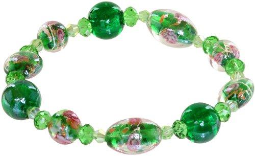 Genuine Italian Murano Glass - Ace Of Diamonds Geneva Italian Murano Glass Stretch Bracelet (Emerald)