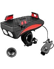 Fiets-telefoonhouder met LED Licht Multifunctionele Fietshoorn Bell Oplaadbare Power Bank Rode telefoon onderdelen