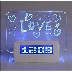 ZGSP Alarm Clock Multi-Function LED Digital Alarm Clock/Calendar/Thermometer/Fluorescent Memo Pad + Highlighter with 4 USB Ports, Christmas/Halloween/New Year/Birthday Present, Blue