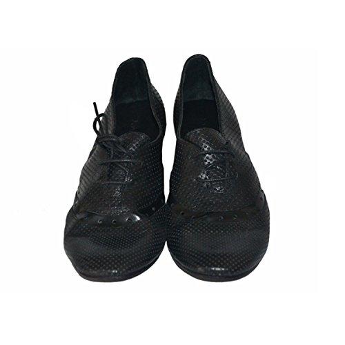 KUDETA' scarpa donna in 100% pelle traforata nera Made in Italy, AL65 tg 37