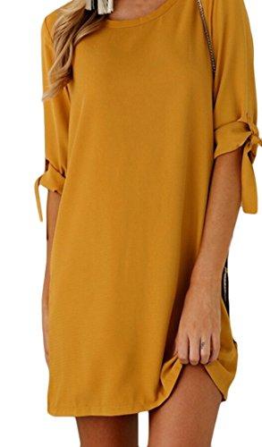 Ainr Femmes Manches Mini Robe Demi-robe D'été Ras Du Cou Solide Orange