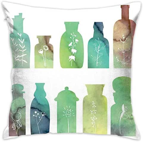 R0k2t0 Apothecary Throw Pillow Cushion Cover, Vintage Watercolor Botanical Herbal Treatment Bottles Medicine Aromatic Nature,Decorative Square Accent Pillow Case,18 X 18 Inches,Multicolor_2
