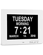 INLIFE Dementia Clocks 2018 Calendar Clock Day Date Clock Digital Alarm Clock with Large Clear Digits Display, On Time Alarm, Auto Light Dimming, Snooze Timer, Battery Backup, Support SD Card White