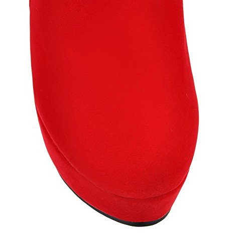 Hohe runde Zehenimitat Rot Damen Reißverschlussstiefel Wildleder geschlossene AgooLar Absätze Btn56xqW