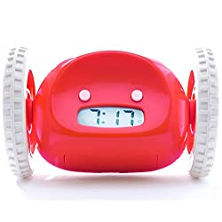 Clocky Nanda Home, the original runaway alarm clock on wheels, Red (loud rolling clock perfect to help heavy sleepers who snooze wake up)
