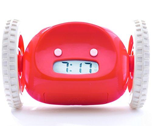 Nanda Home Clocky, the original runaway alarm clock on wheels, Red (loud rolling clock perfect to help heavy sleepers who...