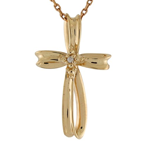 14k Yellow Gold Diamond Accented Sliding Twisted Ribbon Latin Cross Pendant